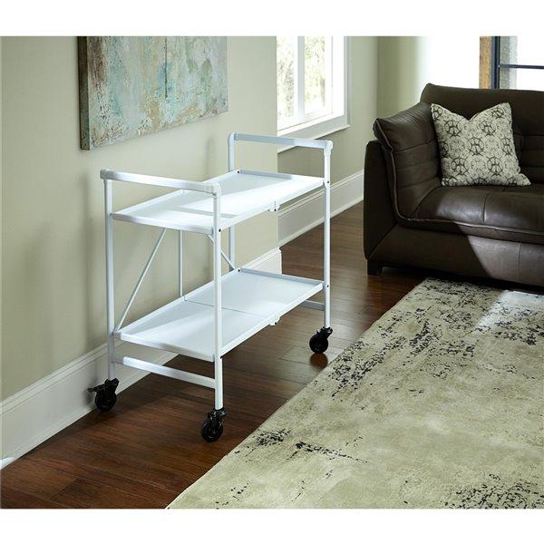 COSCO Intellifit Outdoor Living Outdoor/Indoor Folding Cart - 2-Shelf - 33.47-in - Aluminum - White