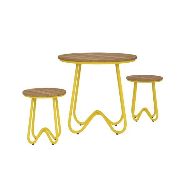 Novogratz Poolside Gossip Collection Bobbi Bistro 3-Piece Set - Yellow