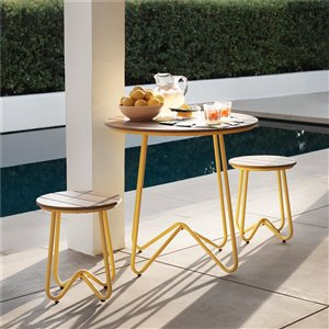 Novogratz Poolside Gossip Collection Bobbi Bistro 3-Piece Set - Yellow