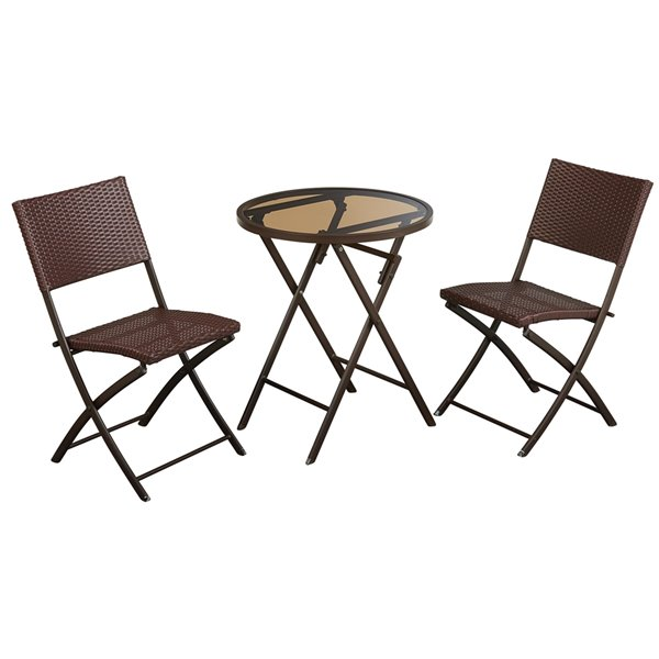 Cosco Outdoor Living 3-Piece Intellifit Dining Bistro Set - Dark Brown