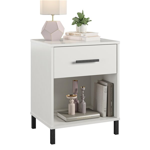 Ameriwood Brewer Nightstand - 24.88-in - Wood - White