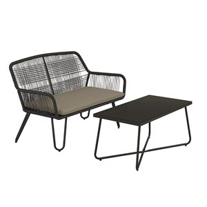 Novogratz Poolside Collection Marli Loveseat & Coffee Table - Gris