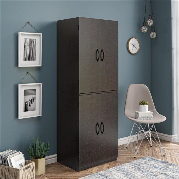 Ameriwood 4-Door Storage Cabinet - 15.63-in x 23.5-in x 72-in - Espresso