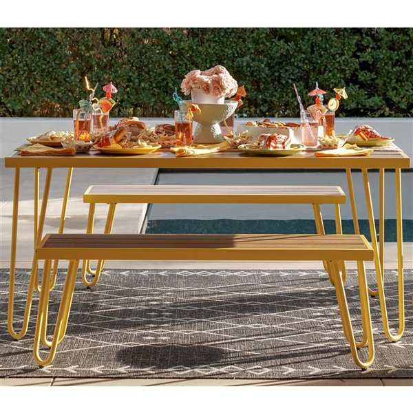 Novogratz Poolside Gossip Collection Paulette 3-Piece Dining Set - Yellow