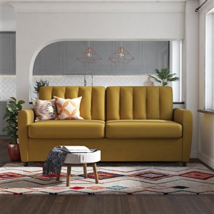 Dorel Novogratz Brittany Sleeper Sofa with Memory Foam Mattress - Queen - Yellow