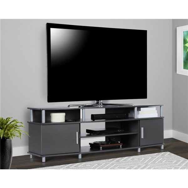 Ameriwood Home Carson TV Stand for TVs up to 70-in - 63-in x 15.75-in x 20.5-in - Graphite Gray