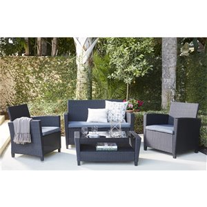Cosco Outdoor Living 4-Piece Malmo Conversation Set - Black