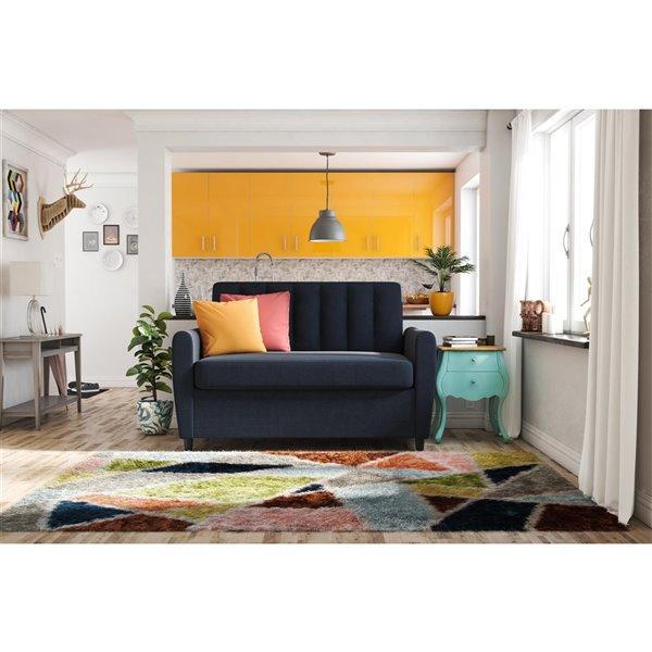 Dorel Novogratz Brittany Loveseat Sleeper Sofa with Memory Foam Mattress - Twin - Blue