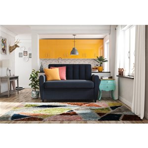 Dorel Novogratz Brittany Loveseat Sleeper Sofa with Memory Foam Mattress - Twin - Blue