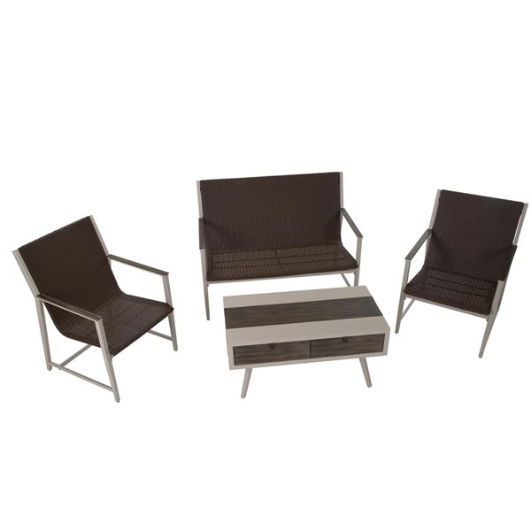Novogratz Outdoor Living Santa Fe Lounge Set - Brown
