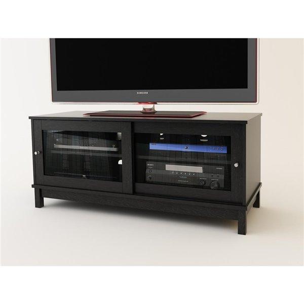 Meuble pour téléviseur avec portes coulissantes en verre, 49,63 po x 19,69 po x 21,94 po, chêne noir