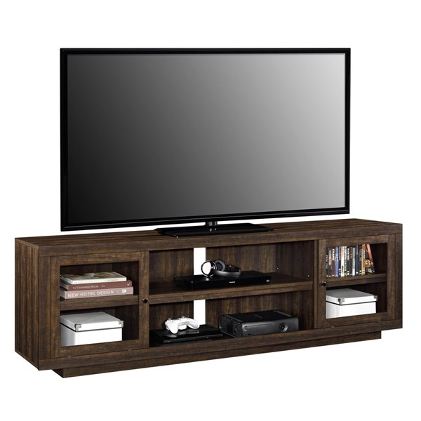 Ameriwood Home Bailey TV Stand for TVs up to 72-in - 71.46-in x 16.5-in x 22.32-in - Espresso