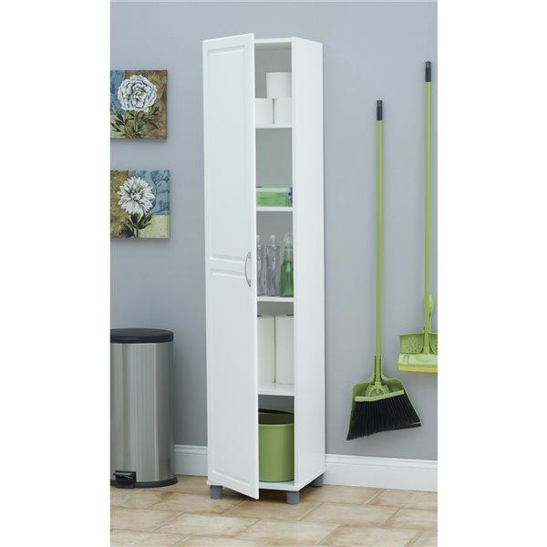Cabinet de rangement utilitaire Kendall de System Build, 16,18 po x 23,46 po x 71,97 po, blanc