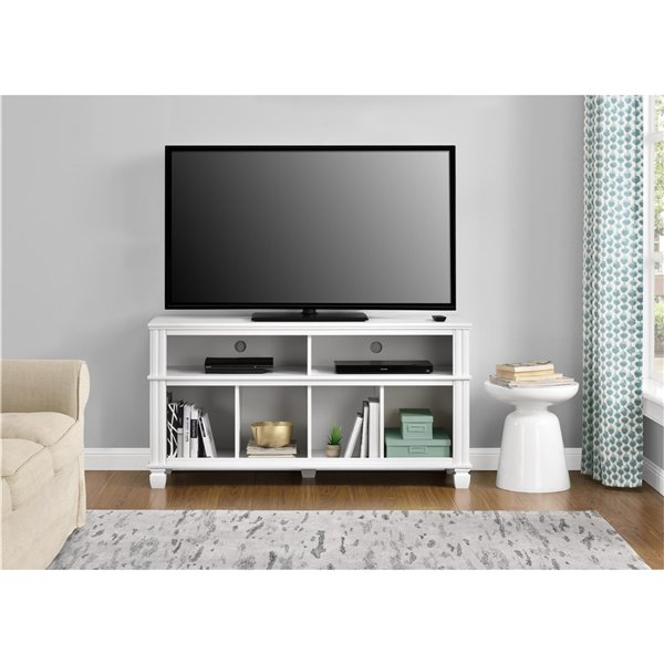 Ameriwood Home Woodcrest TV Stand for TVs up to 55-in - 53.54-in x 15.71-in x 27.48-in - White