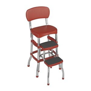 Cosco Stylaire Retro Chair and Step Stool with Sliding Steps - 3-Step - Steel - Red