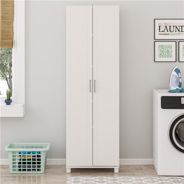 System Build Callahan Utility Storage Cabinet - 15.39-in x 15.67-in x 74.29-in- White