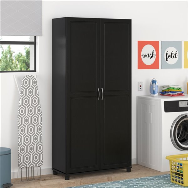 System Build Kendall Utility Storage Cabinet - 15.38-in x 35.69-in x 74.31-in - Black
