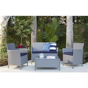 Cosco Outdoor Living 4-Piece Jamaica Conversation Set - Gray