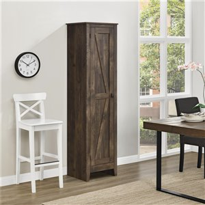 Armoire de rangement large Farmington de System Build, 15,67 po x 18,19 po x 71,85 po, rustique