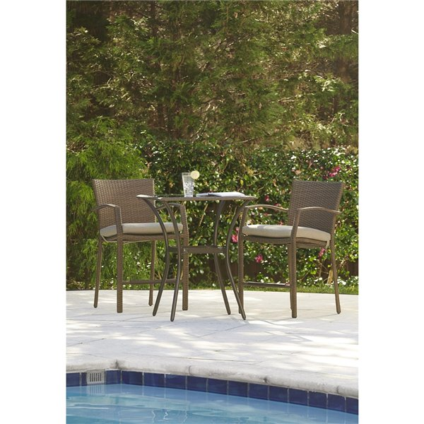 Cosco Outdoor Living Bistro Lakewood Ranch Furniture 3-Piece Set - Brown