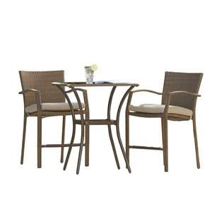 Cosco Outdoor Living Bistro Lakewood Ranch Furniture 3-Piece Set - Brown