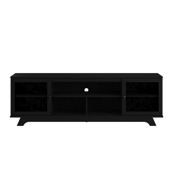 Ameriwood Home Englewood TV Stand for TVs up to 80-in - 71.61-in x 17.52-in x 22.61-in - Black
