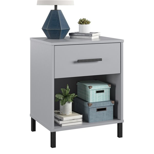 Ameriwood Home Brewer Nightstand - 24.88-in - Wood - Gray