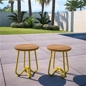 Novogratz Poolside Gossip Collection Bobbi Bistro Stools - Yellow - 2-Pk