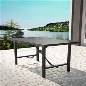 Cosco Outdoor Furniture - Patio Dining Table - Steel - 38.19-in x 60.04-in - Charcoal