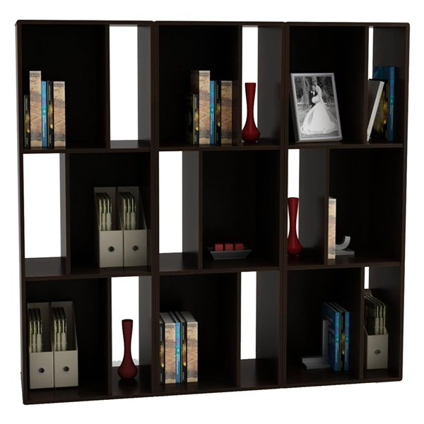 Ameriwood Home Nash Bookcase/TV Stand for TVs up to 60-in - 60.88-in x 15.63-in x 21.25-in - Espresso