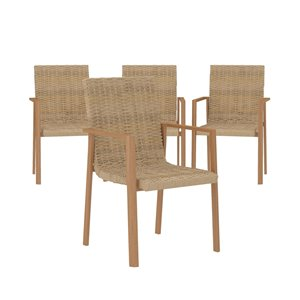Cosco Outdoor Furniture Stacking Dining Patio Chairs - Tan - 4-Pk