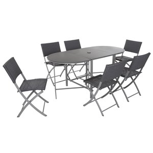Cosco Outdoor Living 7-Piece Intellifit Delray Patio Dining Set - Gray