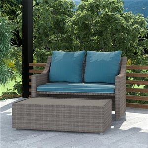 Cosco Outdoor 2-Piece Patio Set with Loveseat and Ottoman/Table - Teal