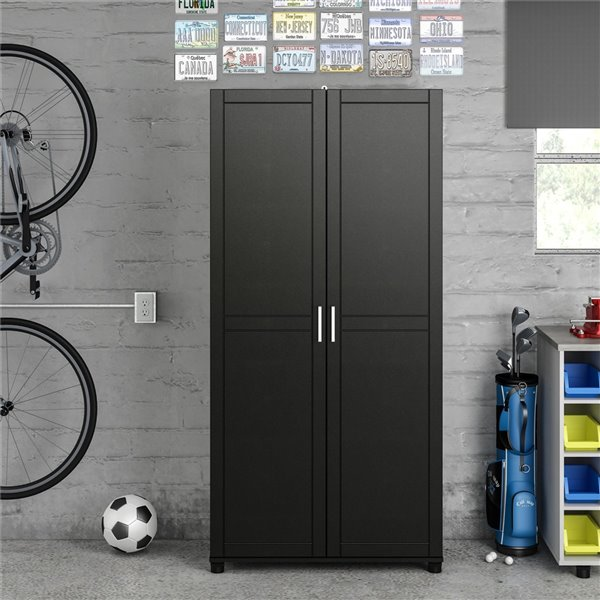 System Build Callahan Utility Storage Cabinet - 15.38-in x 35.68-in x 74.31-in - Black