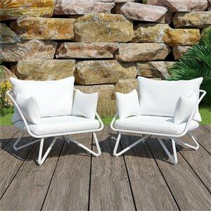 Novogratz Poolside Gossip Collection Teddi Lounge Chairs - White - 2-Pk