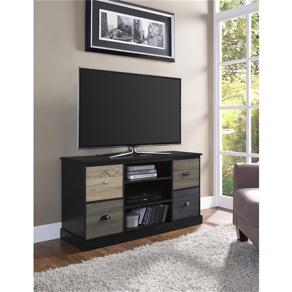 Ameriwood Home Mercer TV Console with Multicoloured Door Fronts for TVs - 47.5-in x 15.7-in x 25-in - Black