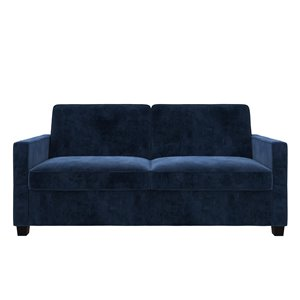 Dorel Signature Casey Velvet Sleeper Sofa with Memory Foam Mattress - Queen - Blue