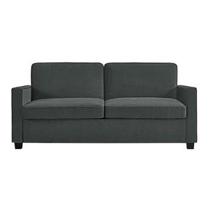 Dorel Signature Casey Velvet Sleeper Sofa with Memory Foam Mattress - Queen - Gray