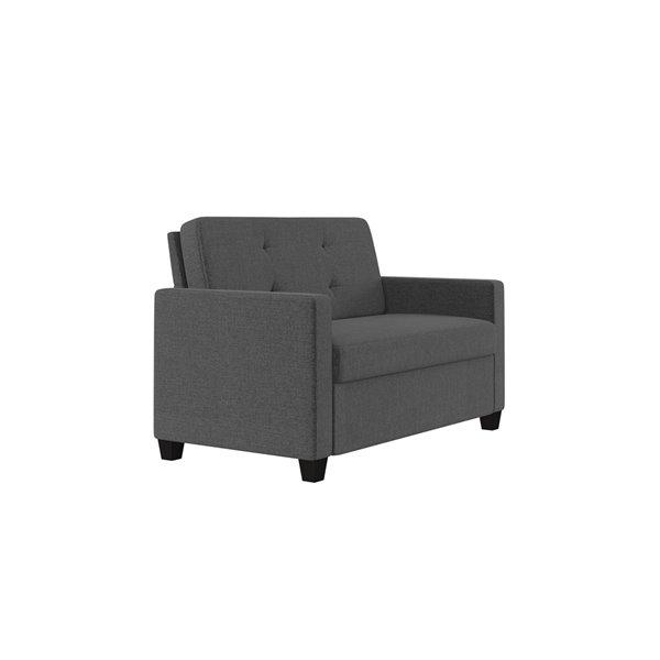 Dorel Signature Devon Linen Sleeper Sofa with Memory Foam Mattress - Twin - Gray