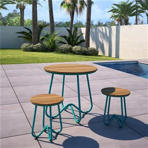 Novogratz Poolside Gossip Collection Bobbi Bistro 3-Piece Set - Turquoise