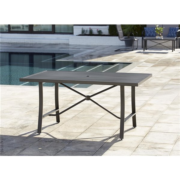 Cosco Outdoor Living SmartConnect Dining Patio Table - 38.6-in x 60.2-in - Dark Gray