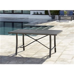 Table à manger SmartConnect de Cosco Outdoor Living, 38.6 po x 60.2 po, gris foncé
