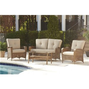 Cosco Outdoor Living Lakewood Ranch Loveseat & Coffee Table - Beige