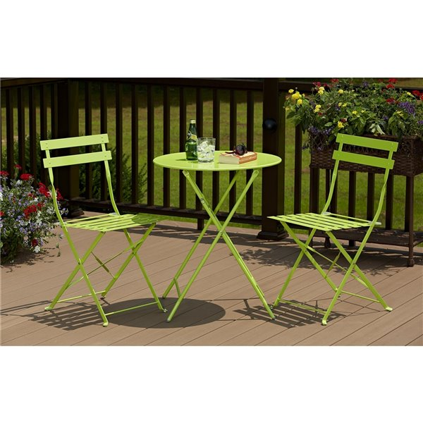 Cosco Outdoor Living All-Steel 3-Piece Bistro Table & Chairs - Green