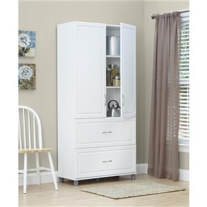 System Build Kendall 2-Door/2-Drawer Storage Cabinet - 15.38-in x 35.69-in x 74.31-in - White