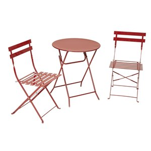 Cosco Outdoor Living All Steel 3-Piece Bistro Table & Chairs - Red