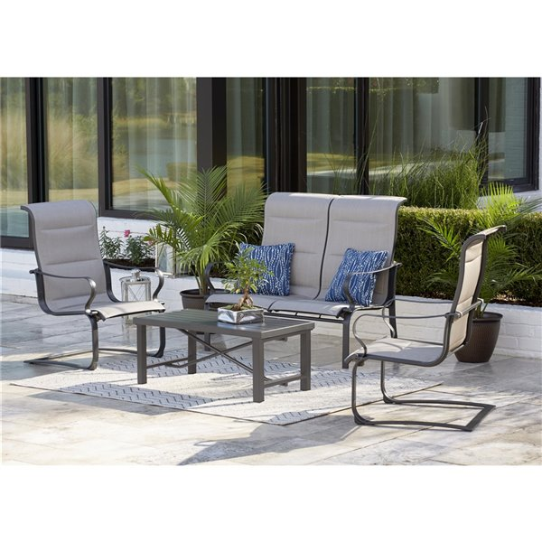 Cosco Outdoor Living SmartConnect Conversation Patio Chairs - Dark Gray - 2-Pk