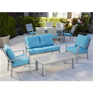 Cosco Outdoor Living Hand Painted Loveseat & Coffee Table - Teal