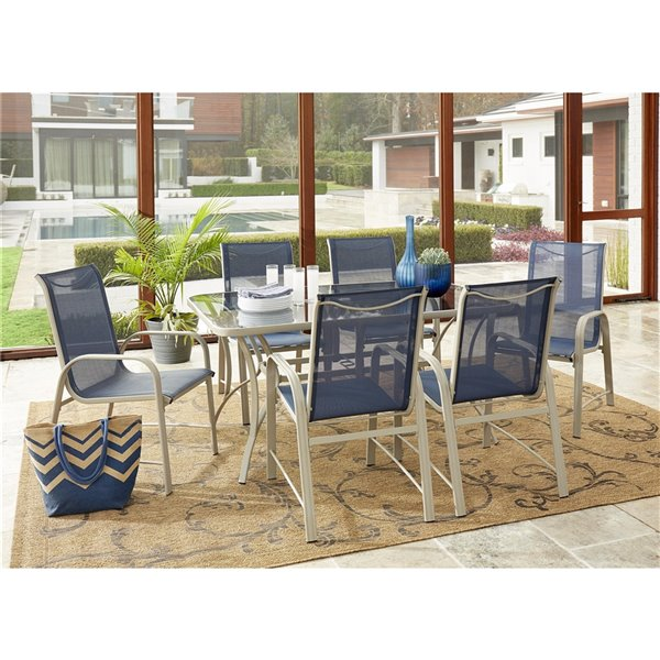Paloma Dinning Chairs with Woven Seatin - Navy - 6-Pk