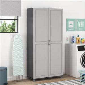 System Build Kendall Utility Storage Cabinet - 15.38-in x 23.69-in x 75-in - Gray